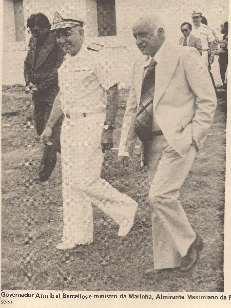 Então governador Anníbal Barcellos, recebendo ministro. Acervo: Nilson Montoril