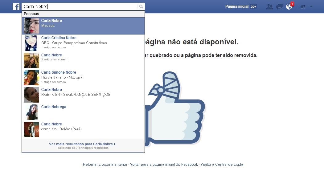 Aviso no Facebook informando que a página de Carla foi removida