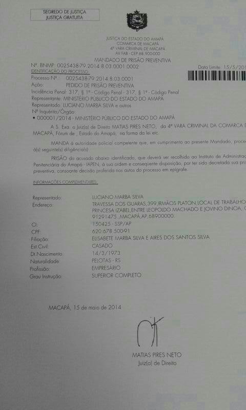 Mandado de prisão contra o empresário Luciano Marba