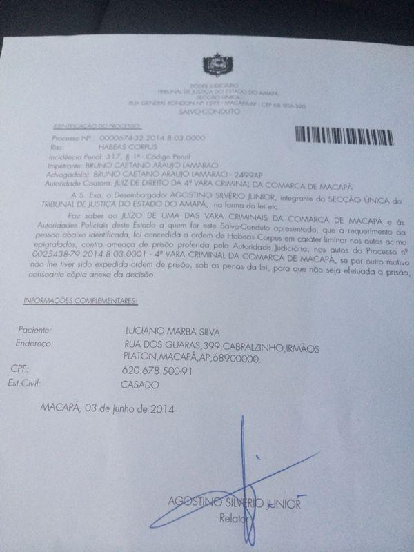 Salvo conduto expedido pelo desembargador a Luciano Marba