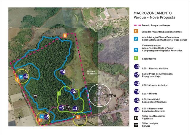 Mapa mostra pontos do parque que sofrerão intervenção