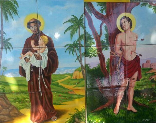 Azulejos viraram telas para imagens emblemáticas do catolicismo