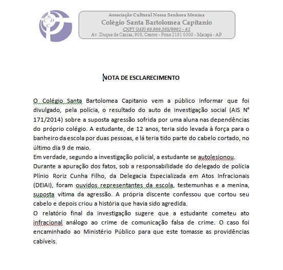 Nota emitida pelo Colégio Bartolomea