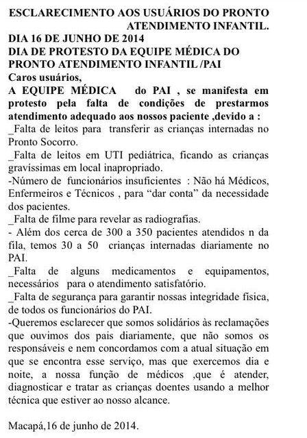 Panfleto que está sendo distribuído pelos médicos   aos familiares de crianças internadas: um desabafo