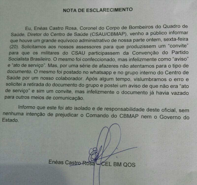 Nota assinada pelo coronel Enéas Castro era para ser um convite