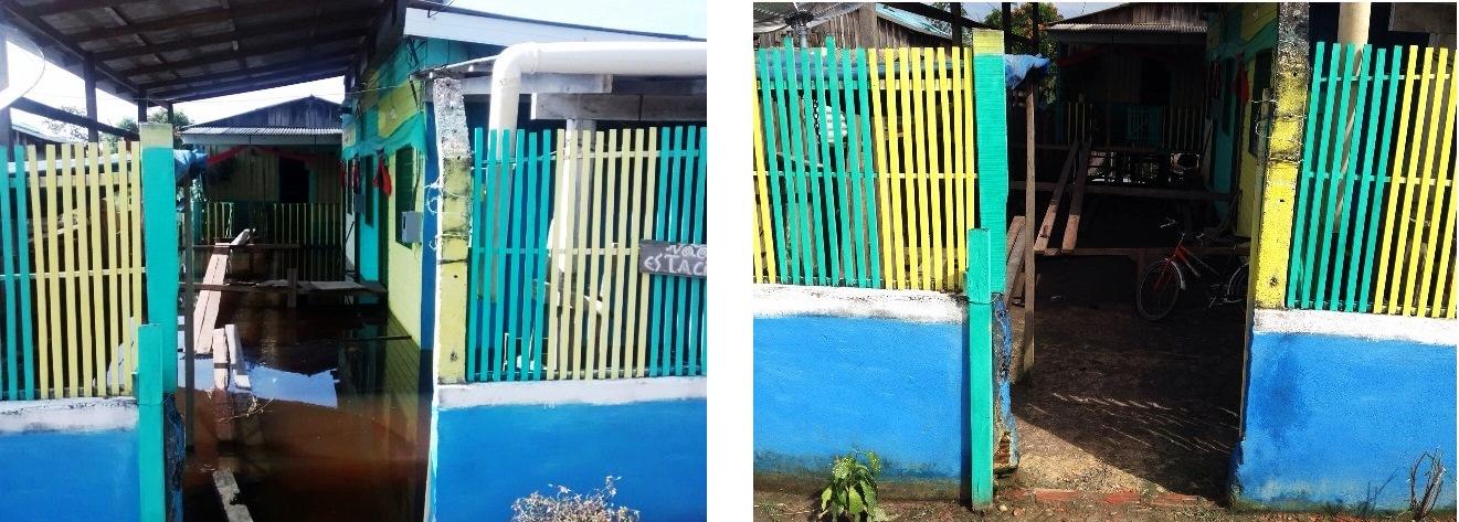 A foto mostra o antes e o depois do alagamento