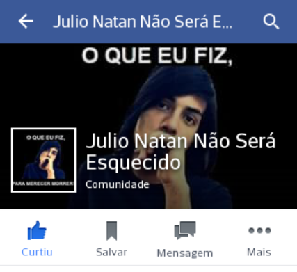 No Facebook uma página é alimentada por parentres e amigos de Natan