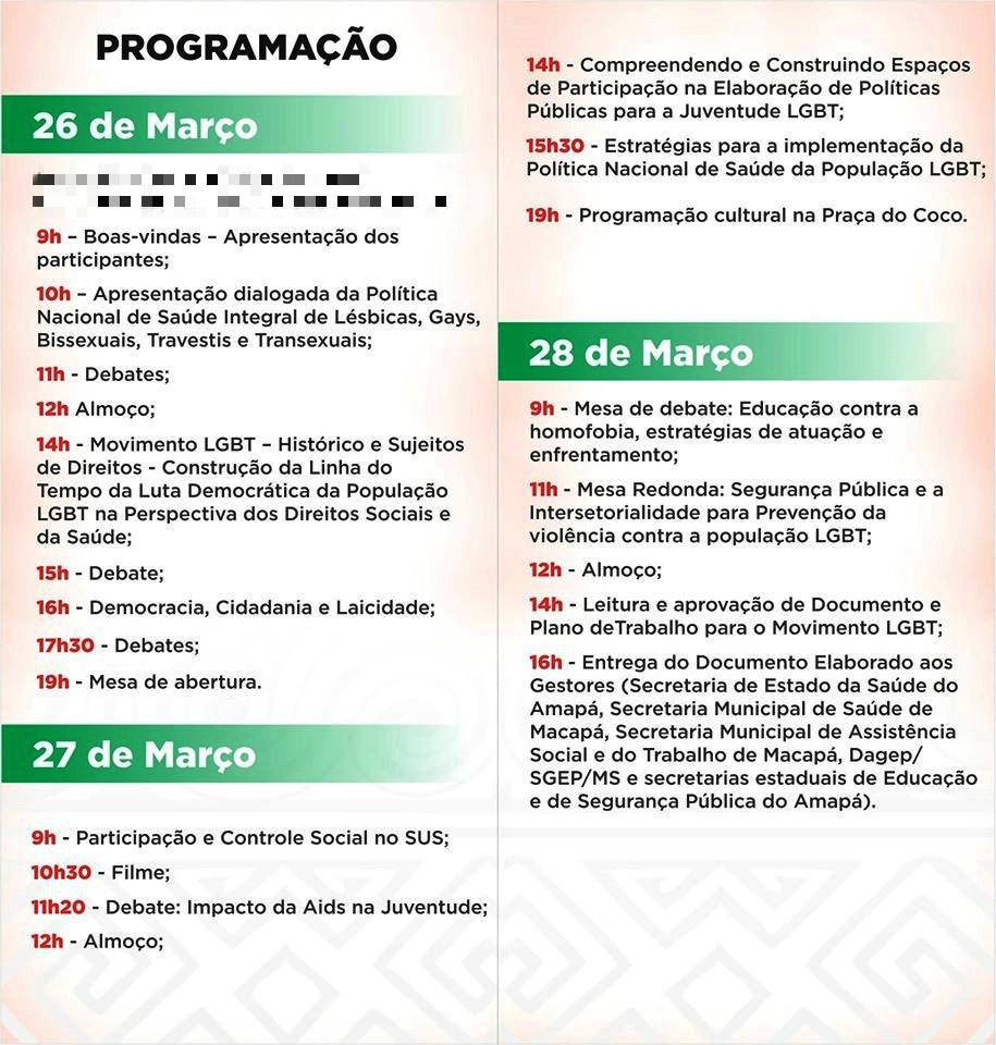 Programação dos três dias de evento