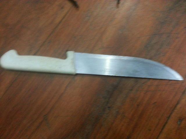 A faca usada pelo assaltante