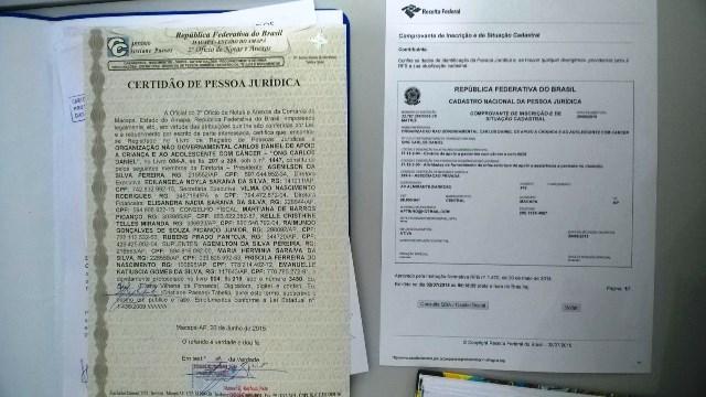 Documento que legalizam a ONG Carlos Daniel