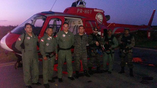 O helicóptero da polícia paraense vai dar apoio aéreo à operação de varredura