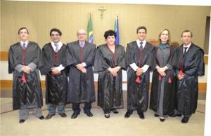 Os sete desembargador do Pleno que escolheram a lista tríplice. Fotos: Ascom/TJAP