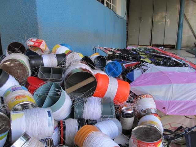 Linhas enceradas apreendidas pela Guarda Municipal em Macapá