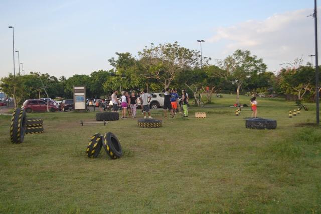 Um circuito de crossfit foi montado no Parque do Forte e já tem vários adeptos