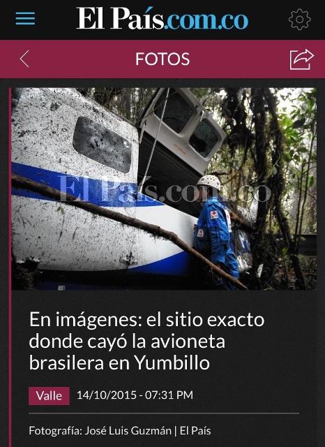 Foto do avião de Waldeck publicada pela imprensa colobiana