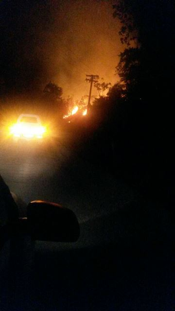 Incêndio próximo da BR-210. Foto enviada por um morador