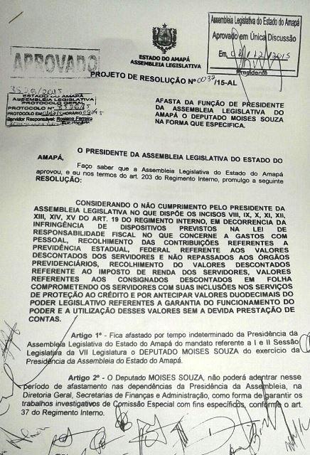 Resolução assinada por 14 deputados. Foto: Reprodução
