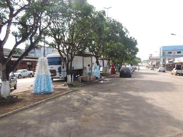 Árvores de garrafas pet ao longo da Avenida Barão do Rio Branco