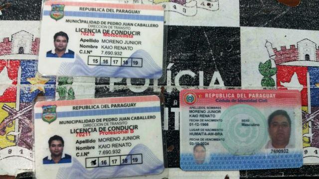 Documentos falsos com nacionalidade paraguaia