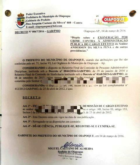 Decreto da prefeitura demitindo um dos falsos professores envolvidos