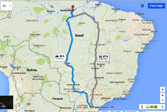 Caminho feito por Wilson Balzer até Santarém. Imagem: Google