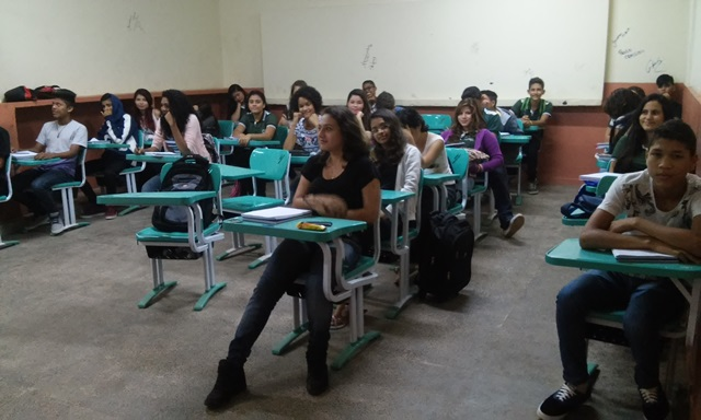 Sala de aula na Escola Carmelita do Carmo