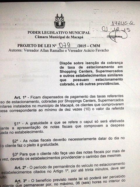Projeto de lei de Acácio e Allan: quem consumir valor 10 vezes maior que a taxa não precisa pagar estacionamento. Foto: Reprodução
