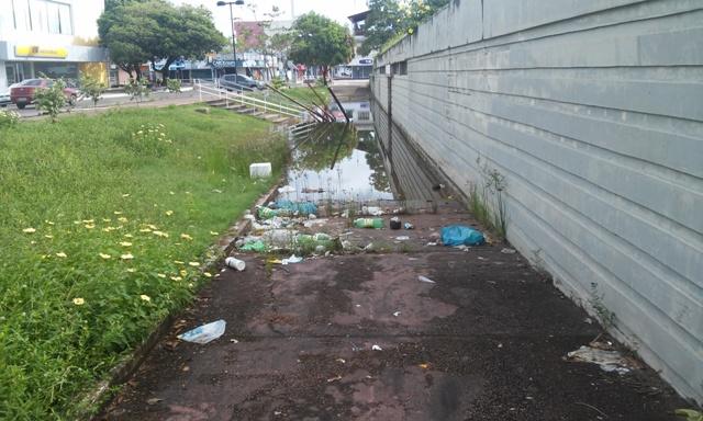 lixo e água parada