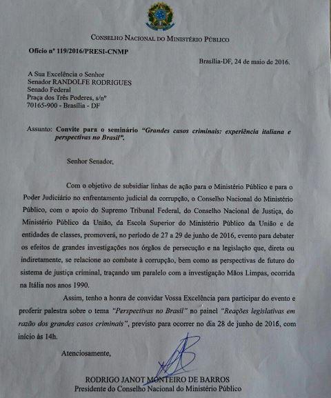 Convite de Rodrigo Janot para Randolfe Rodrigues. Foto: Reprodução