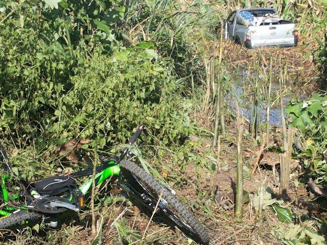 Carro ficou desgovernador depois do atropelamento