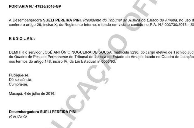 Portaria de demissão de Antônio Nogueira assinada no último dia 4. Foto: Reprodução