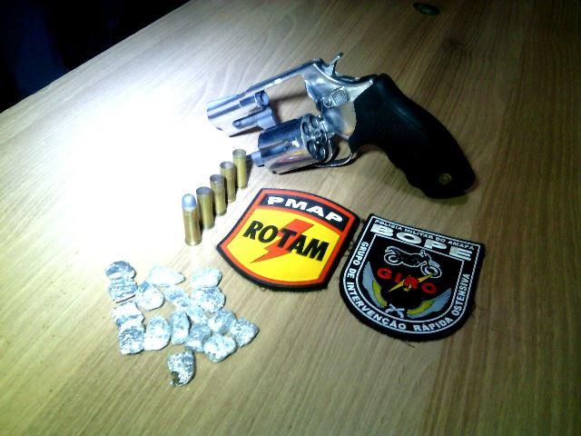 Revólver calibre 38 com 4 munições deflagradas. Fotos: Olho de Boto