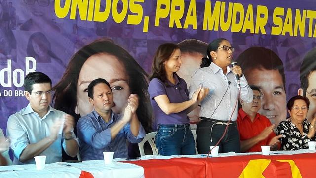 Marcivânia e Clotilde na coletiva que anunciou a candidatura da deputada. Fotos: Seles Nafes