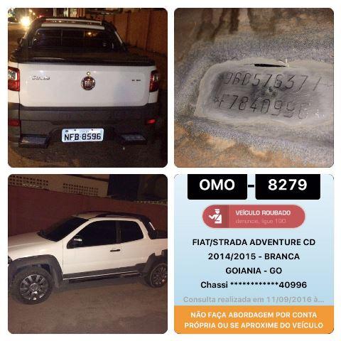 Número do chassi, 40996, indica que é o mesmo carro que foi roubado em Goiânia.