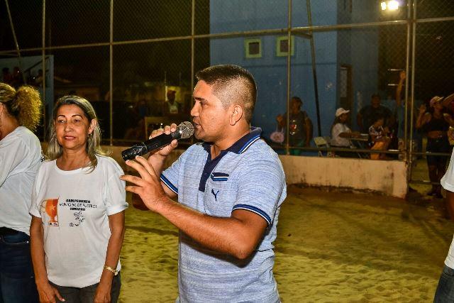Coordenador de Desporto, Junielson Coutinho dos Santos, discursa na abertura do evento: descentralizar