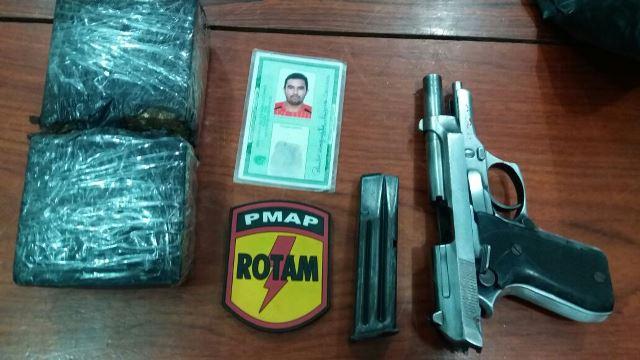 Identidade falsa e 800 gamas de maconha encontrados na casa do traficante que usava pistola 380