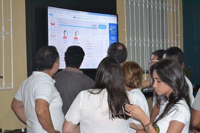 Amigos e assessores acompanham a totalização dos votos na casa do prefeito. Fotos: André Silva
