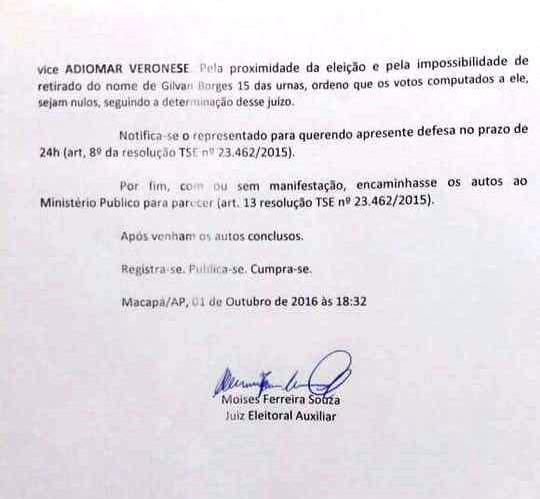 Pedido e a assinatura são falsos, informou o juiz Adão Carvalho