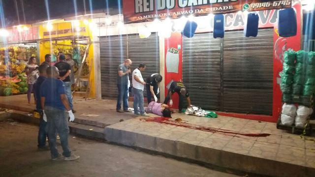 A comerciante de 51 anos levou um tiro na cabeça. Fotos: Olho de Boto