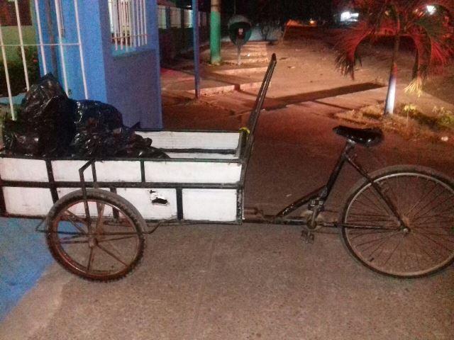 """Material seria transportado em uma """"carroça"""". Fotos: Olho de Boto"""