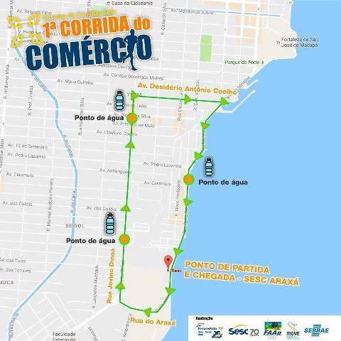 Percurso da corrida. Fotos: ascom/Fecomércio