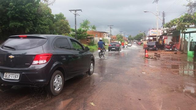 Trecho da Leopoldo Machado que sempre alaga com a chegada das chuvas