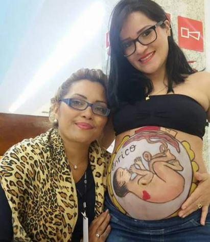 """Pinturas mostram a posição em que o bebê está"""" Fotos: Divulgação"""