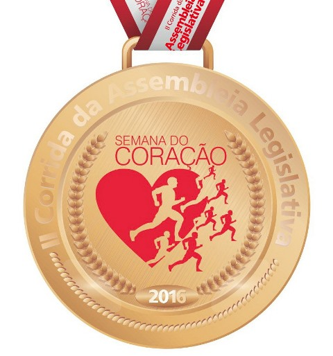 Medalha da corrida. Cada participante receberá uma com valor simbólico. Premiação ficará para os três primeiros colocados de cada categoria