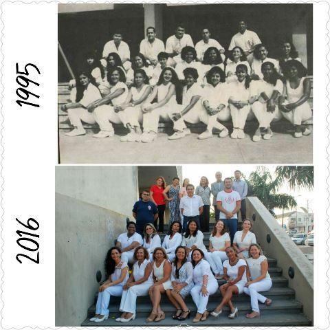 Passado e presente se se encontram no mesmo lugar em duas fotografias. Fotos: arquivo da turma