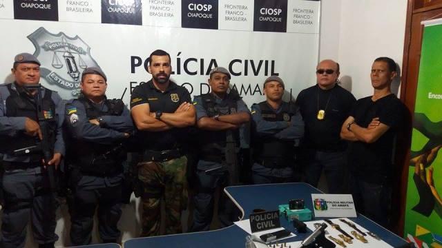 Equipes de policiais civis e militares que atuou na prisão. Foto: PC/Divulgação