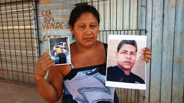Mãe exibe fotos do filho em vida e já morto. Fotos: enviadas pela família