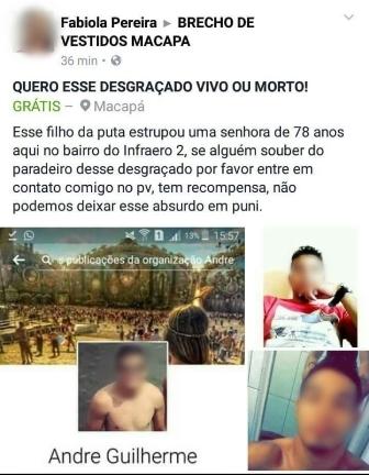 Postagem atribuído a uma Fabíola Pereira foi retirado. Foto: Reprodução