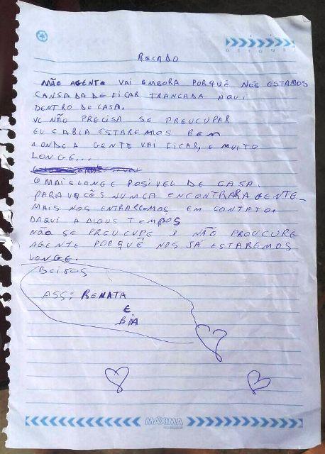Carta deixada pelas duas meninas para mãe. Foto: enviada por Patrícia