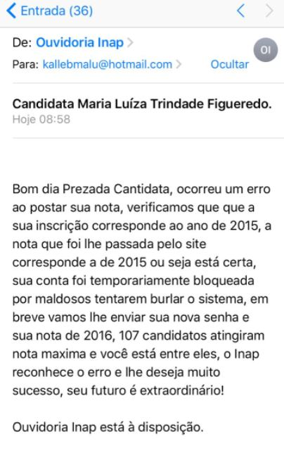 Falso email do Inep